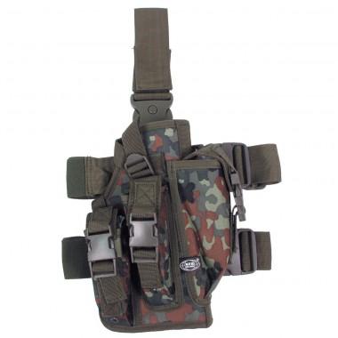 Кобура для пистолета тактическая с подсумками, с креплениями к ноге и ремню MFH флектарн