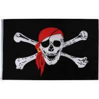 Пиратский флаг «Весёлый Роджер» с косынкой 90х150см