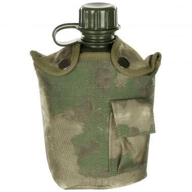 Фляга 1л пластиковая в найлоновом чехле, HDT камуфляж green MFH