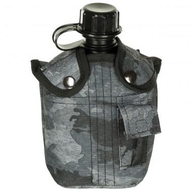 Фляга 1л пластиковая в найлоновом чехле, HDT камуфляж LE MFH