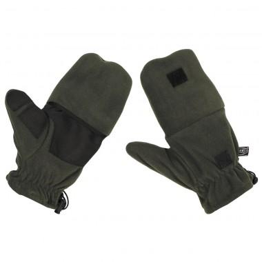 Перчатки флисовые с петлями тёмно-зелёные (олива) MFH