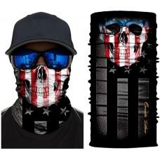 Летняя мультиповязка (горловик) череп и флаг США
