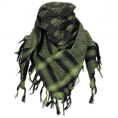 Куфия (арафатка) с черепами зелёно-чёрная MFH
