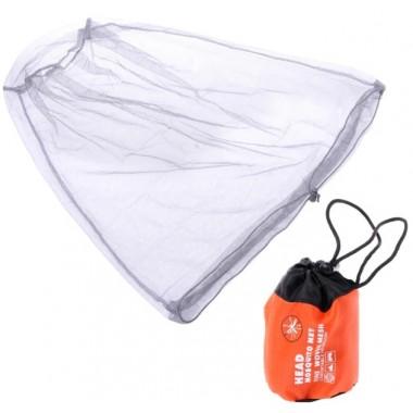Компактная сетка от комаров на голову с резинкой и оранжевым чехлом Head Mosquito Net