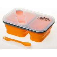 Контейнер 900мл силиконовый на 2 отсека Tramp с ловилкой оранжевый