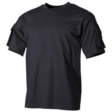 Тактическая футболка спецназа США, чёрная, с карманами на рукавах, х/б MFH