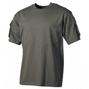 Тактическая футболка спецназа США, тёмно-зелёная (олива), с карманами на рукавах, х/б MFH