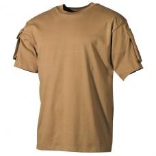 Тактическая футболка спецназа США, койот, с карманами на рукавах, х/б MFH