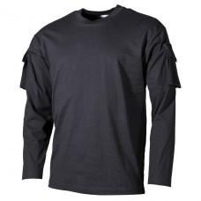 Тактическая футболка спецназа США с длинным рукавом, чёрная, с карманами на рукавах, х/б MFH