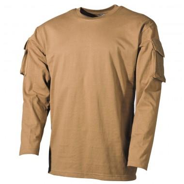 Тактическая футболка спецназа США с длинным рукавом, койот, с карманами на рукавах, х/б MFH
