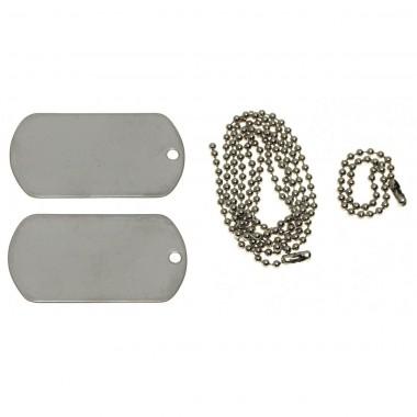 Жетоны армейские стальные (2 шт.) US Dog Tag Set серебристые MFH