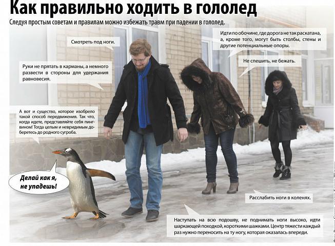 Гололед и походка пингвина. Как правильно ходить в гололёд